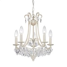 Victorian 5-Light Mini Chandelier in Antique Cream and Clear