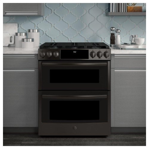 "GE Profile™ 30"" Smart Slide-In Front-Control Gas Double Oven Convection Range"