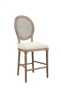 "Emerald Home Salerno Barstool 24"" W/uph Seat-rattan Back-sand Gray/distressed Finish U3693-24-09"