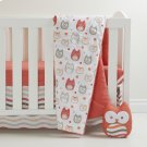 Gray \u0026 Coral Owls 3-Pce Crib Bed Set and Owl Shaped Decorative Pillow - Gray and Coral Product Image