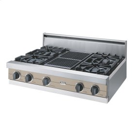 """Taupe 36"""" Open Burner Rangetop - VGRT (36"""" wide, four burners 12"""" wide char-grill)"""