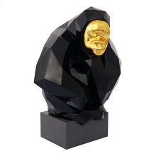 Pondering Ape Large Sculpture - Black and Gold