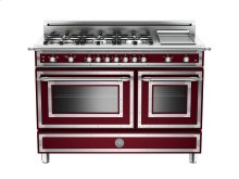 48 6-Burner + Griddle, Gas Double Oven Matt Burgundy
