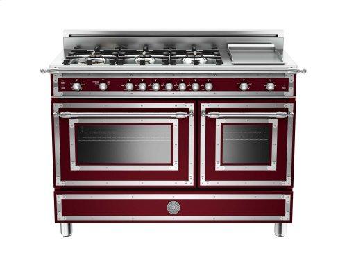48 inch 6-Burner + Griddle, Gas Double Oven Matt Burgundy