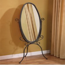 "Garden District ""Black with Gold Highlights"" Scroll Cheval Mirror"