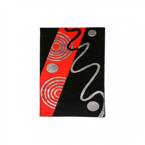 """Aisling 5' 3"""" X 4"""" Black & Red Area Rug"""