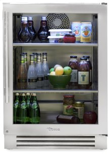24 Inch Stainless Glass Door Undercounter Refrigerator - Left Hinge Stainless Glass