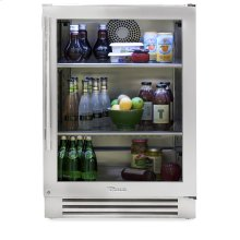 24 Inch Stainless Glass Door Undercounter Refrigerator - Right Hinge Stainless Glass