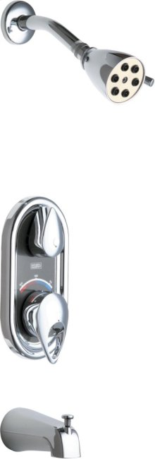 TempShield Thermostatic Pressure Balancing Shower Valve with Shower Head and Diverter Tub Spout