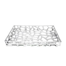 Organic Iron Tray With Glass Bottom In Silver Leaf