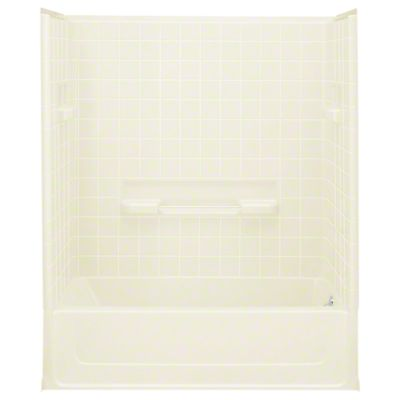 "All Pro®, Series 6104, 60"" x 30"" x 72-3/4"" Bath/Shower - Right-hand Drain - KOHLER Biscuit"