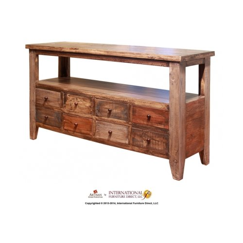 Cocktail Table w/8 Drawers on one side & hinged top storage on the other side