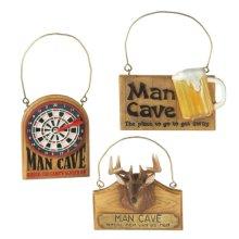 """Man Cave"" Sign Ornament (3 asstd)."