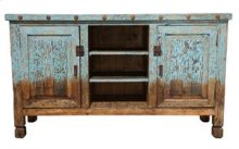 Turquoise Reclaimed Painted Wood TV Stand