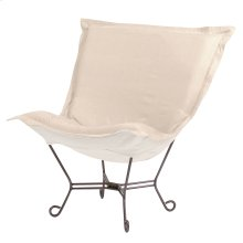 Scroll Puff Chair Sterling Sand Titanium Frame