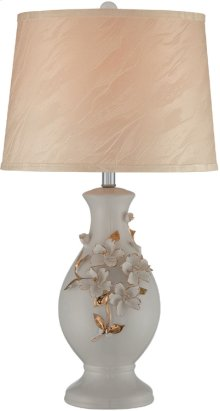 Ceramic Table Lamp, White Glazed/fabric Shade, E27 Cfl 23w