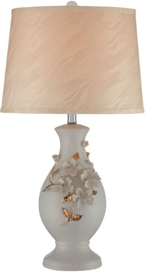 Ceramic Table Lamp, White Glazed/fabric Shade, E27 Cfl 23w