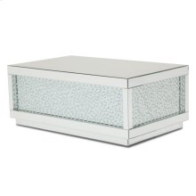 Rect Silver Mirrored Cocktail Table W/crystals