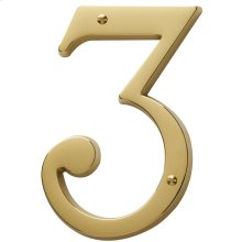 Lifetime Polished Brass House Number - 3