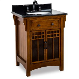 "26-5/8"" vanity with Chestnut finish and amber-colored mica glass door inserts with preassembled top and bowl."