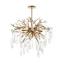Brass and Glass Teardrop Seven-Light Chandelier