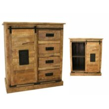 Sliding 1 Door/4 Drawer Cabinet