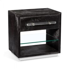 Cassian Bedside Chest - Black/ Nickel