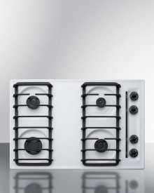 "30"" Wide Sealed Burner Gas Cooktop In White With Cast Iron Grates and Spark Ignition, Made In the USA"