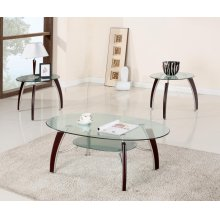 3PC CHERRY GLASS C/E TABLE SET