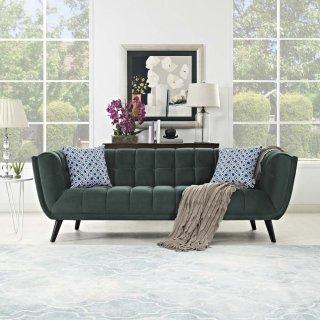 Bestow Performance Velvet Sofa in Green