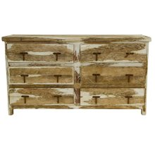 Antique White 6 Drawer Dresser