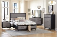 HOMELEGANCE 1711-1-9 Raku Queen Platform Storage Bed, Nightstand, Dresser, Mirror & Chest Group