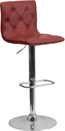 Contemporary Button Tufted Burgundy Vinyl Adjustable Height Barstool with Chrome Base