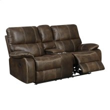 Power Console Loveseat W/usb Power Outlet-brown #js111d-075