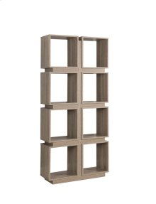 - Four tier, eight shelf bookcase finished in dark taupe- Constructed with MDF, particle board, and engineered veneer- Also available in cappuccino (#801840)