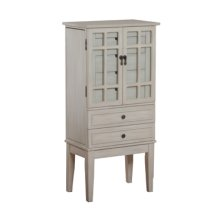 White Glass Door Jewelry Armoire