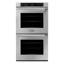 """27"""" Heritage Double Wall Oven, Silver Stainless Steel with Epicure Style Handle (End Chrome Caps)"""