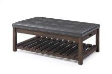 Rectangular Cocktail Table-dk Brown Wood W/brown Pu#suntex-525 Top Rta