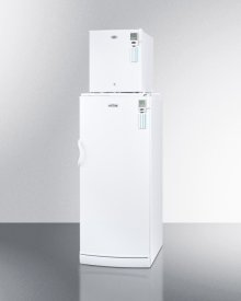 "Compact FS22LMED all-freezer stacked on full-size auto defrost FFAR10MED all-refrigerator, 24"" footprint with temperature alarms"