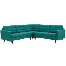 Empress 3 Piece Upholstered Fabric Sectional Sofa Set in Teal Product Image