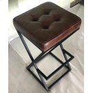 Brooks Leather Stool- Dark Sienna Product Image