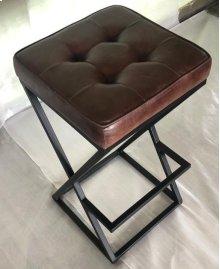 Brooks Leather Stool- Dark Sienna
