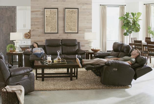 Hidden · Additional Power Headrest Lay Flat Reclining Sofa W/Drop Down Table