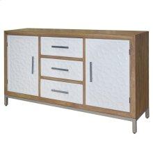 Montez Flagstone Pattern Sideboard 3 Drawers + 2 Doors Silver Frame, White/Natural