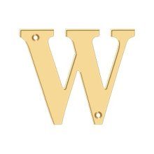 "4"" Residential Letter W - PVD Polished Brass"
