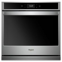 Whirlpool® 4.3 cu. ft. Smart Single Wall Oven with True Convection Cooking - Black-on-Stainless