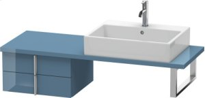 Vero Low Cabinet For Console Compact, Stone Blue High Gloss Lacquer