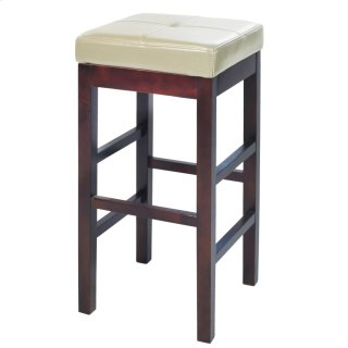 Valencia Backless Leather Bar Stool, Beige