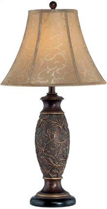 Table Lamp - Dark Bronze/jacquard Fabric Shade, Type A 150w