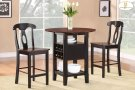 "3-Piece Pack Counter Height Set Table : 36 x 22 - 29 - 36 x 36H (Drop Leaf : 7"") Chair : 18 x 20.5 x 40.5H Product Image"